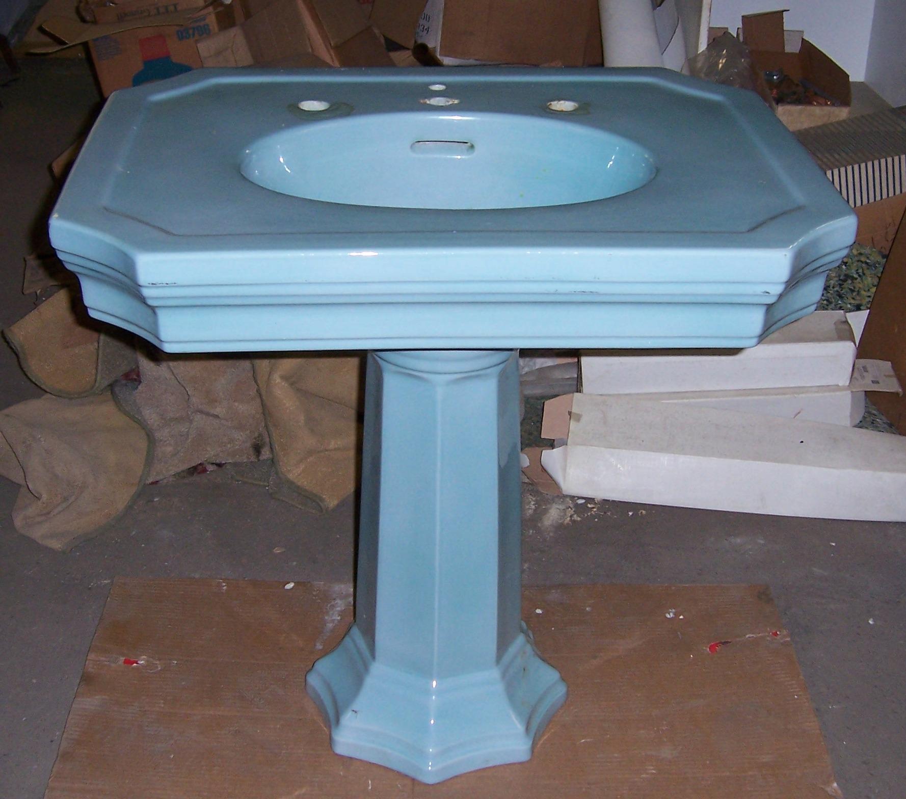 Blue Pedestal Sink : Pedestal Sinks VintageBathroom